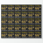 "[ Thumbnail: Black, Imitation Gold ""66th Birthday"" Wrapping Paper ]"