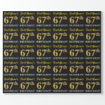 "[ Thumbnail: Black, Imitation Gold ""67th Birthday"" Wrapping Paper ]"