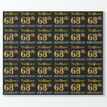"[ Thumbnail: Black, Imitation Gold ""68th Birthday"" Wrapping Paper ]"