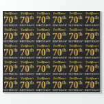 "[ Thumbnail: Black, Imitation Gold ""70th Birthday"" Wrapping Paper ]"