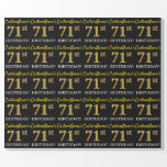 "[ Thumbnail: Black, Imitation Gold ""71st Birthday"" Wrapping Paper ]"