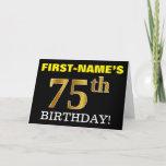 "[ Thumbnail: Black, Imitation Gold ""75th Birthday"" Card ]"