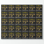 "[ Thumbnail: Black, Imitation Gold ""75th Birthday"" Wrapping Paper ]"
