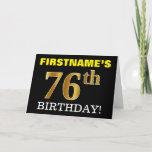"[ Thumbnail: Black, Imitation Gold ""76th Birthday"" Card ]"