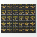 "[ Thumbnail: Black, Imitation Gold ""76th Birthday"" Wrapping Paper ]"