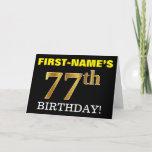 "[ Thumbnail: Black, Imitation Gold ""77th Birthday"" Card ]"