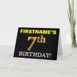 "[ Thumbnail: Black, Imitation Gold ""7th Birthday"" Card ]"