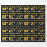 "[ Thumbnail: Black, Imitation Gold ""80th Birthday"" Wrapping Paper ]"