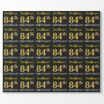 "[ Thumbnail: Black, Imitation Gold ""84th Birthday"" Wrapping Paper ]"