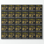 "[ Thumbnail: Black, Imitation Gold ""85th Birthday"" Wrapping Paper ]"
