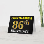 "[ Thumbnail: Black, Imitation Gold ""86th Birthday"" Card ]"