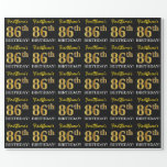"[ Thumbnail: Black, Imitation Gold ""86th Birthday"" Wrapping Paper ]"