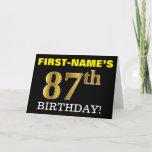 "[ Thumbnail: Black, Imitation Gold ""87th Birthday"" Card ]"