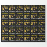 "[ Thumbnail: Black, Imitation Gold ""87th Birthday"" Wrapping Paper ]"