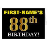 "[ Thumbnail: Black, Imitation Gold ""88th Birthday"" Card ]"