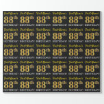 "[ Thumbnail: Black, Imitation Gold ""88th Birthday"" Wrapping Paper ]"