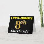 "[ Thumbnail: Black, Imitation Gold ""8th Birthday"" Card ]"