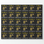 "[ Thumbnail: Black, Imitation Gold ""8th Birthday"" Wrapping Paper ]"