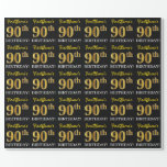 "[ Thumbnail: Black, Imitation Gold ""90th Birthday"" Wrapping Paper ]"