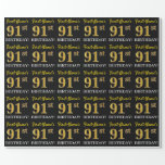 "[ Thumbnail: Black, Imitation Gold ""91st Birthday"" Wrapping Paper ]"