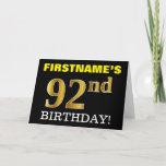 "[ Thumbnail: Black, Imitation Gold ""92nd Birthday"" Card ]"