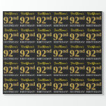 "[ Thumbnail: Black, Imitation Gold ""92nd Birthday"" Wrapping Paper ]"