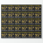 "[ Thumbnail: Black, Imitation Gold ""95th Birthday"" Wrapping Paper ]"