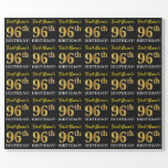 "[ Thumbnail: Black, Imitation Gold ""96th Birthday"" Wrapping Paper ]"