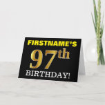 "[ Thumbnail: Black, Imitation Gold ""97th Birthday"" Card ]"