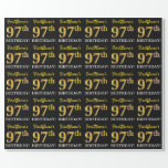 "[ Thumbnail: Black, Imitation Gold ""97th Birthday"" Wrapping Paper ]"