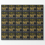 "[ Thumbnail: Black, Imitation Gold ""98th Birthday"" Wrapping Paper ]"
