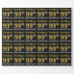"[ Thumbnail: Black, Imitation Gold ""99th Birthday"" Wrapping Paper ]"