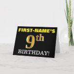 "[ Thumbnail: Black, Imitation Gold ""9th Birthday"" Card ]"