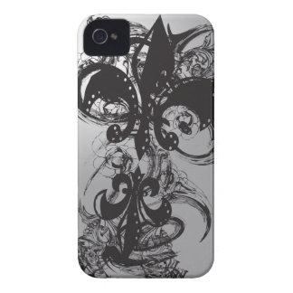 Black impresionante Fleur De Les iPhone 4 Cárcasas