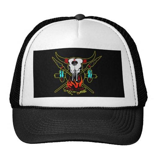 Black Indian Cow Skull Mesh Hats