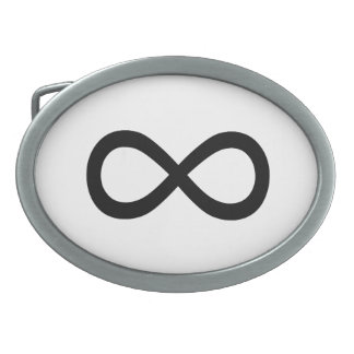 Black Infinity Symbol Oval Belt Buckle