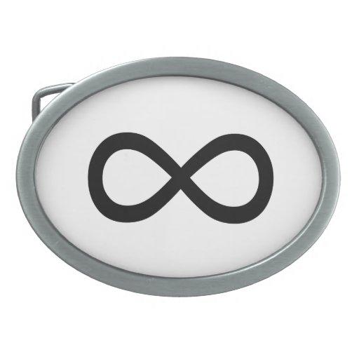 Black Infinity Symbol Oval Belt Buckle