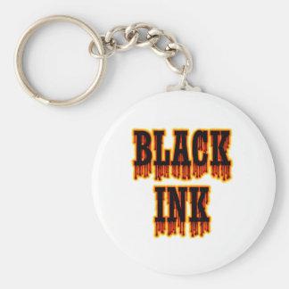 Black Ink Basic Round Button Keychain