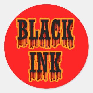 Black Ink Classic Round Sticker
