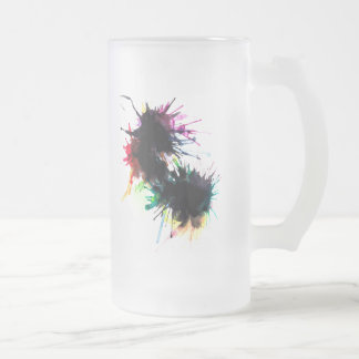 Black Ink Frosted Glass Beer Mug