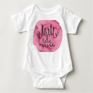 "Black ink inscription ""Mom I love you"" on a pink W Baby Bodysuit"