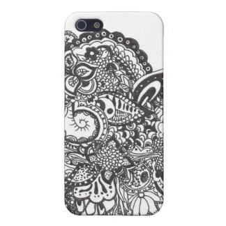 Black Ink Intricate Doodle Design Case For iPhone SE/5/5s