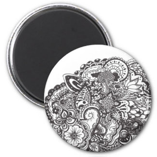 Black Ink Intricate Doodle Design 2 Inch Round Magnet
