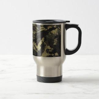 Black Ink on Gold Background Travel Mug
