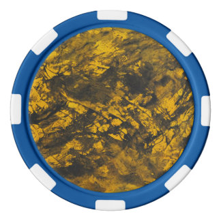 Black Ink on Yellow Background Poker Chips