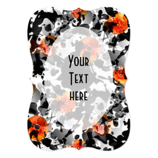 BLACK INK & POPPIES pattern + your backgr. & ideas 5x7 Paper Invitation Card