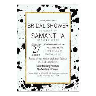 Black Ink Splatters and Gold Bridal Shower Invites