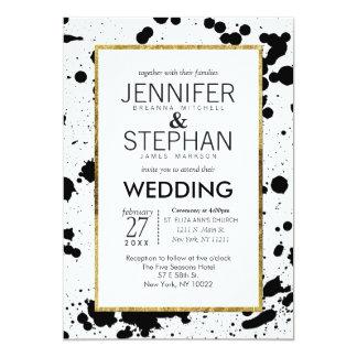 Black Ink Splatters and Gold Wedding Invitations