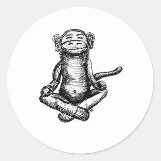 black ink zen monkey classic round sticker