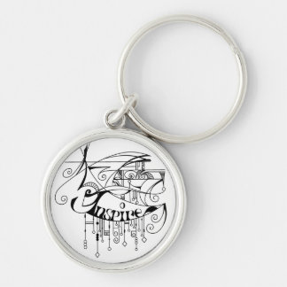 Black Inspire In Lines and Dangles Keychain